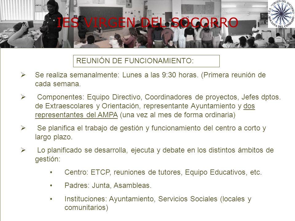 Política de la compañía REUNIÓN DE FUNCIONAMIENTO: Se realiza semanalmente: Lunes a las 9:30 horas. (Primera reunión de cada semana. Componentes: Equi