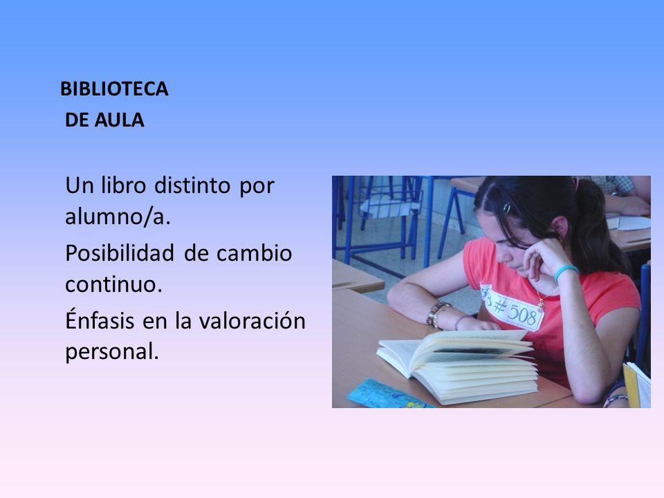 BIBLIOTECA DE AULA Un libro distinto por alumno/a. Posibilidad de cambio continuo. Énfasis en la valoración personal.