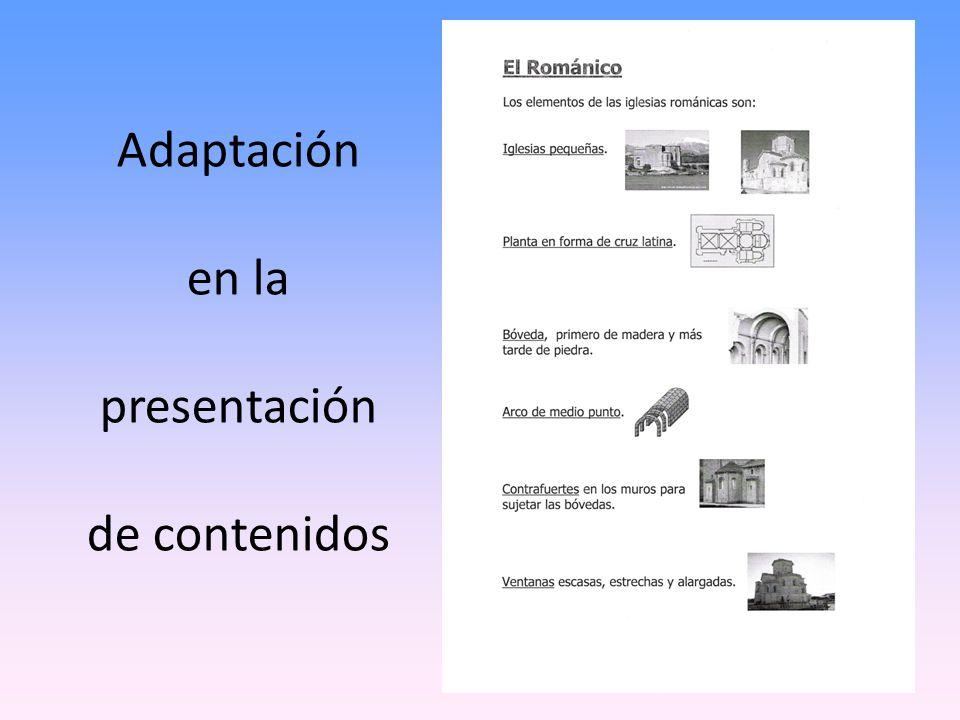 Adaptación en la presentación de contenidos