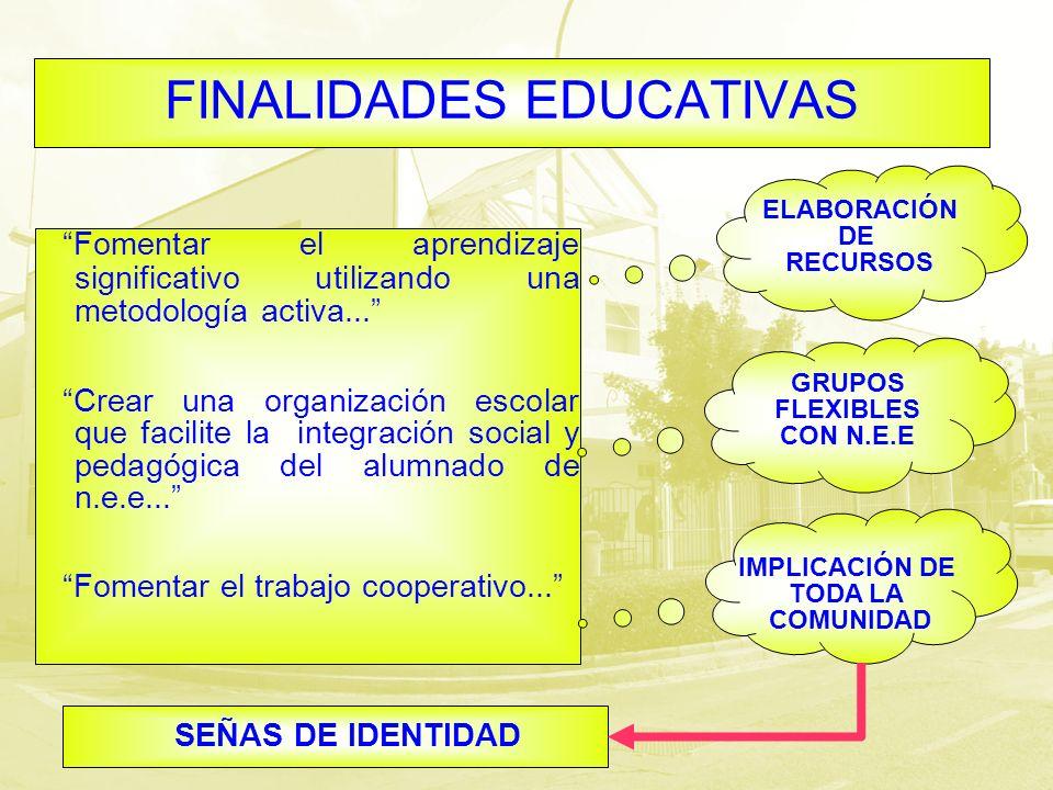 FINALIDADES EDUCATIVAS Fomentar el aprendizaje significativo utilizando una metodología activa... Crear una organización escolar que facilite la integ