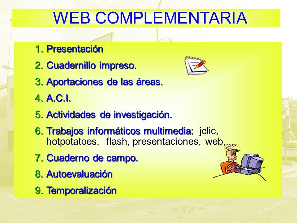 WEB COMPLEMENTARIA 1.Presentación 2.Cuadernillo impreso. 3.Aportaciones de las áreas. 4.A.C.I. 5.Actividades de investigación. 6.Trabajos informáticos