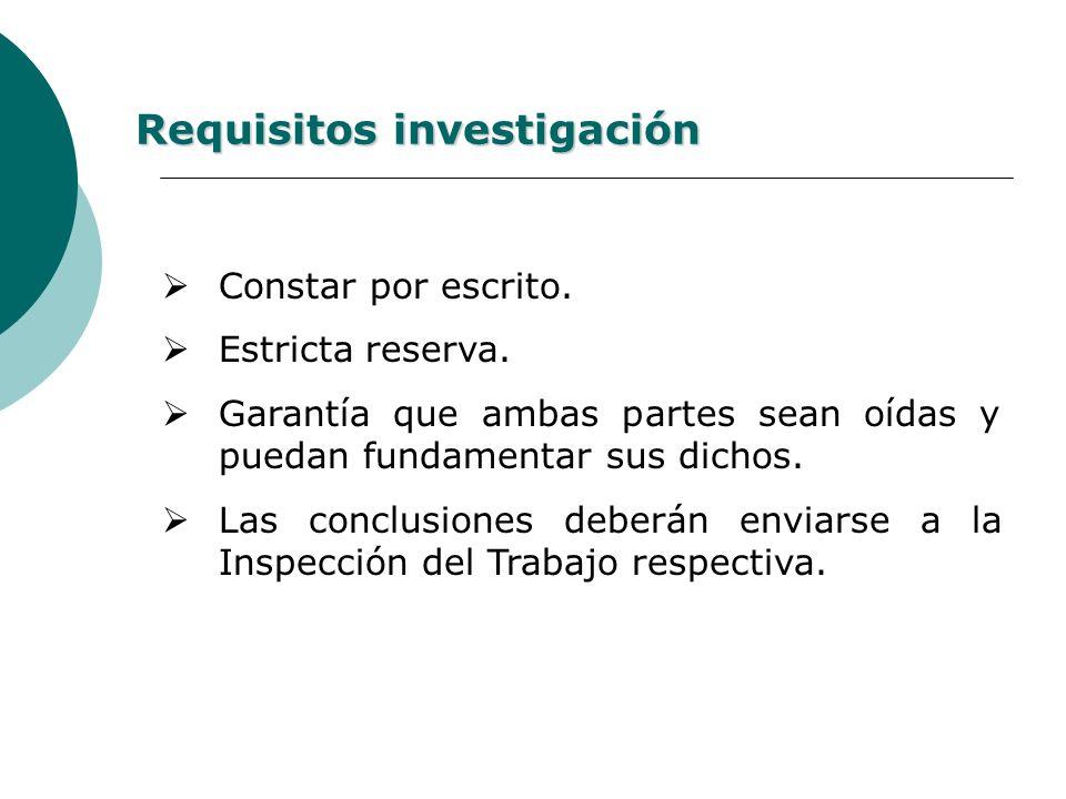 Si la denuncia es ante el empleador a) Si el empleador investiga: Adoptará medidas de resguardo.