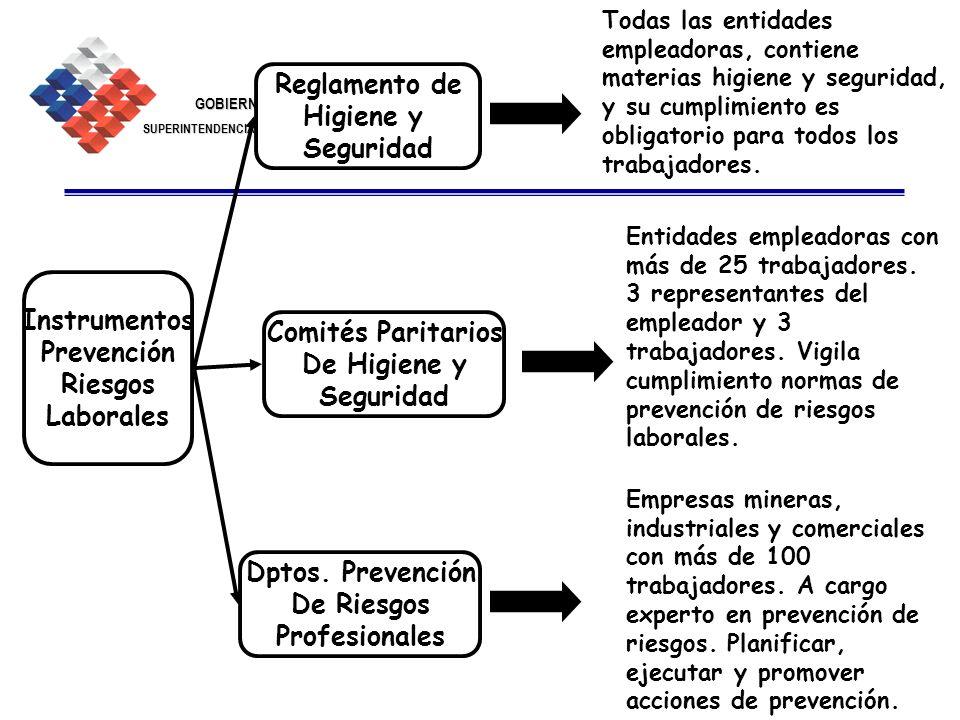 GOBIERNO DE CHILE SUPERINTENDENCIA DE SEGURIDAD SOCIAL 24 Instrumentos Prevención Riesgos Laborales Comités Paritarios De Higiene y Seguridad Reglamen