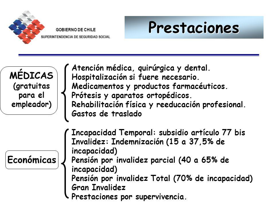 GOBIERNO DE CHILE SUPERINTENDENCIA DE SEGURIDAD SOCIAL 25 Prestaciones Atención médica, quirúrgica y dental. Hospitalización si fuere necesario. Medic