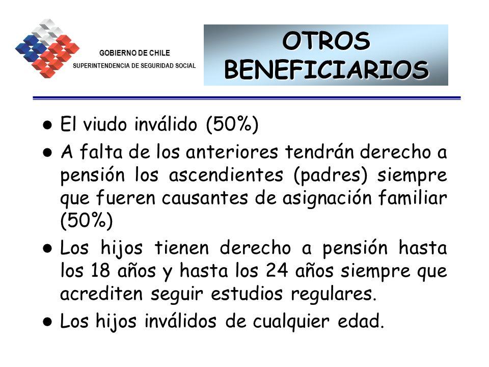 GOBIERNO DE CHILE SUPERINTENDENCIA DE SEGURIDAD SOCIAL 28 OTROS BENEFICIARIOS El viudo inválido (50%) A falta de los anteriores tendrán derecho a pens