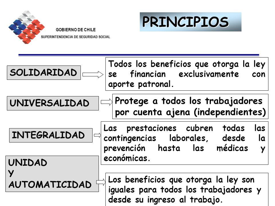 GOBIERNO DE CHILE SUPERINTENDENCIA DE SEGURIDAD SOCIAL 3 PRINCIPIOS Todos los beneficios que otorga la ley se financian exclusivamente con aporte patr