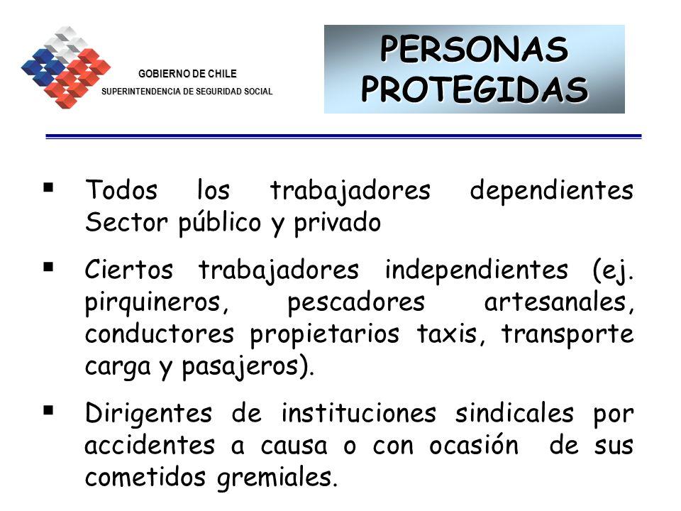 GOBIERNO DE CHILE SUPERINTENDENCIA DE SEGURIDAD SOCIAL 4 Todos los trabajadores dependientes Sector público y privado Ciertos trabajadores independien