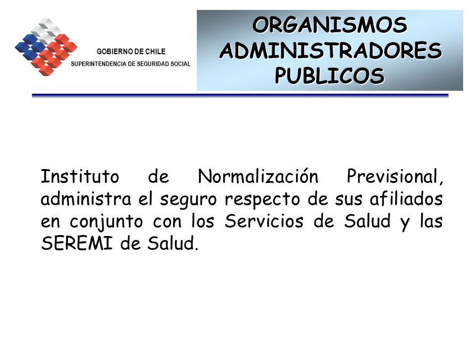 GOBIERNO DE CHILE SUPERINTENDENCIA DE SEGURIDAD SOCIAL 8 ORGANISMOS ADMINISTRADORES PUBLICOS Instituto de Normalización Previsional, administra el seg
