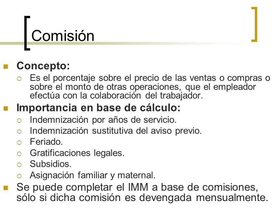 Comisión Concepto: Es el porcentaje sobre el precio de las ventas o compras o sobre el monto de otras operaciones, que el empleador efectúa con la col