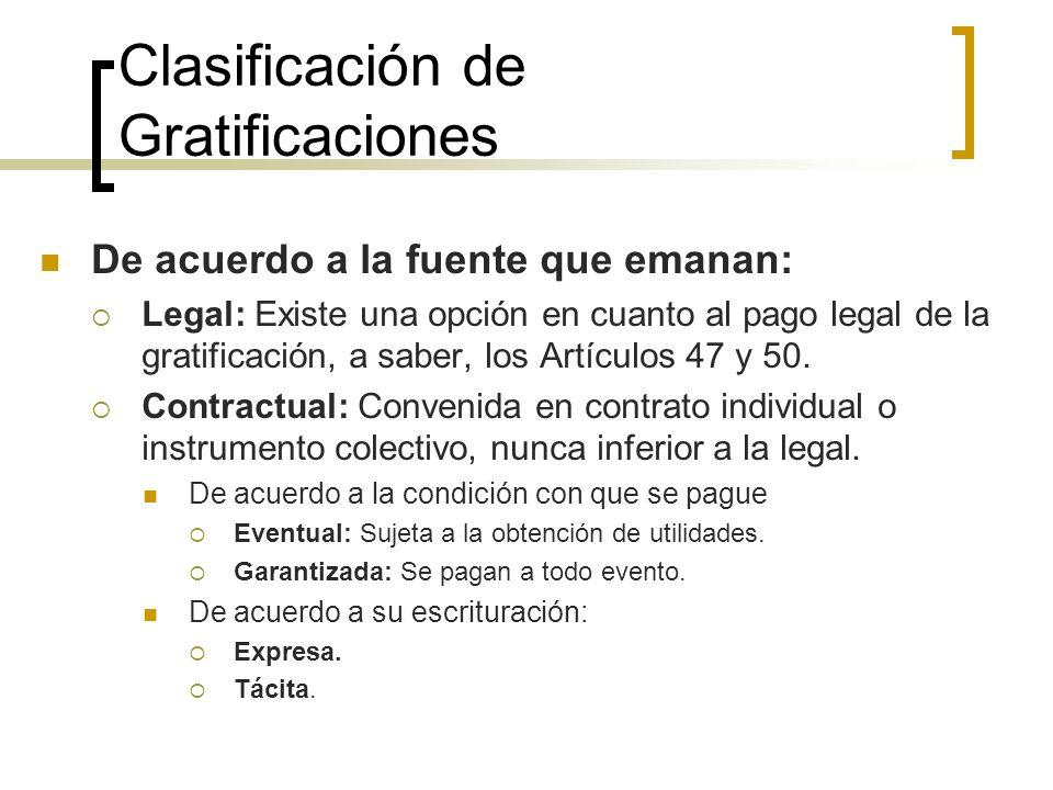 Clasificación de Gratificaciones De acuerdo a la fuente que emanan: Legal: Existe una opción en cuanto al pago legal de la gratificación, a saber, los