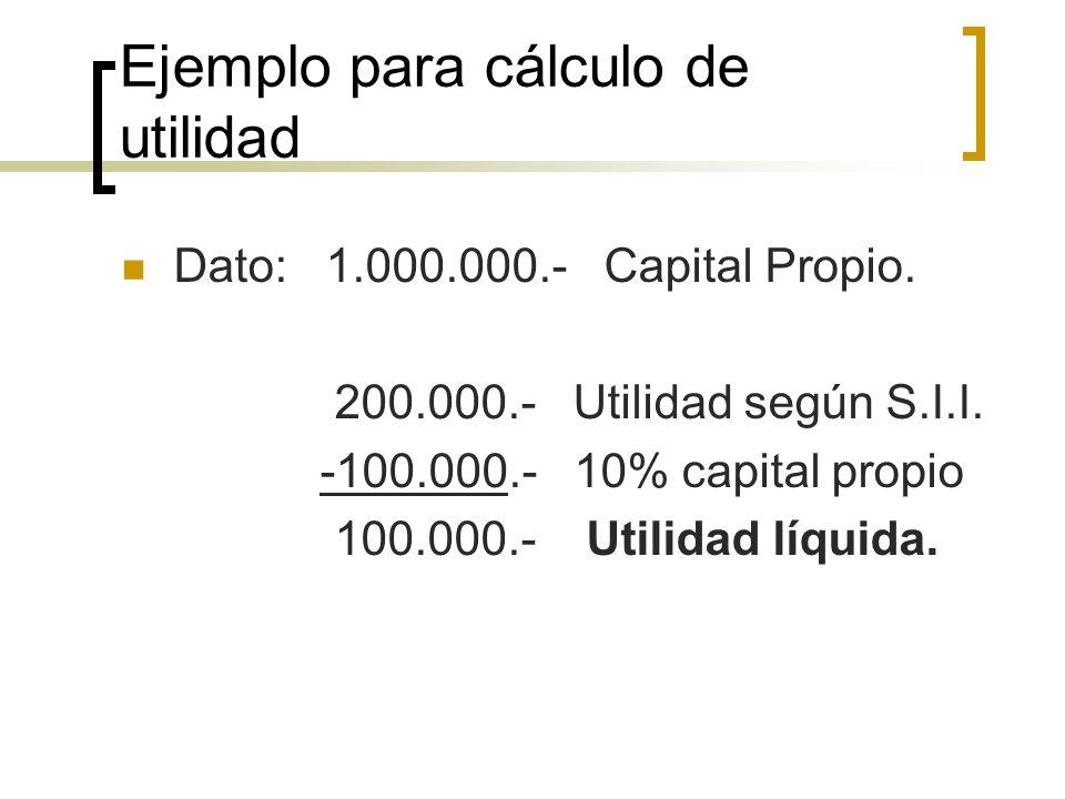 Ejemplo para cálculo de utilidad Dato: 1.000.000.- Capital Propio. 200.000.- Utilidad según S.I.I. -100.000.- 10% capital propio 100.000.- Utilidad lí