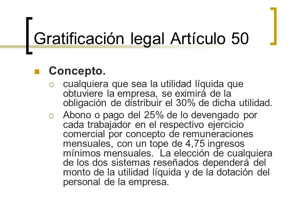 Gratificación legal Artículo 50 Concepto. cualquiera que sea la utilidad líquida que obtuviere la empresa, se eximirá de la obligación de distribuir e