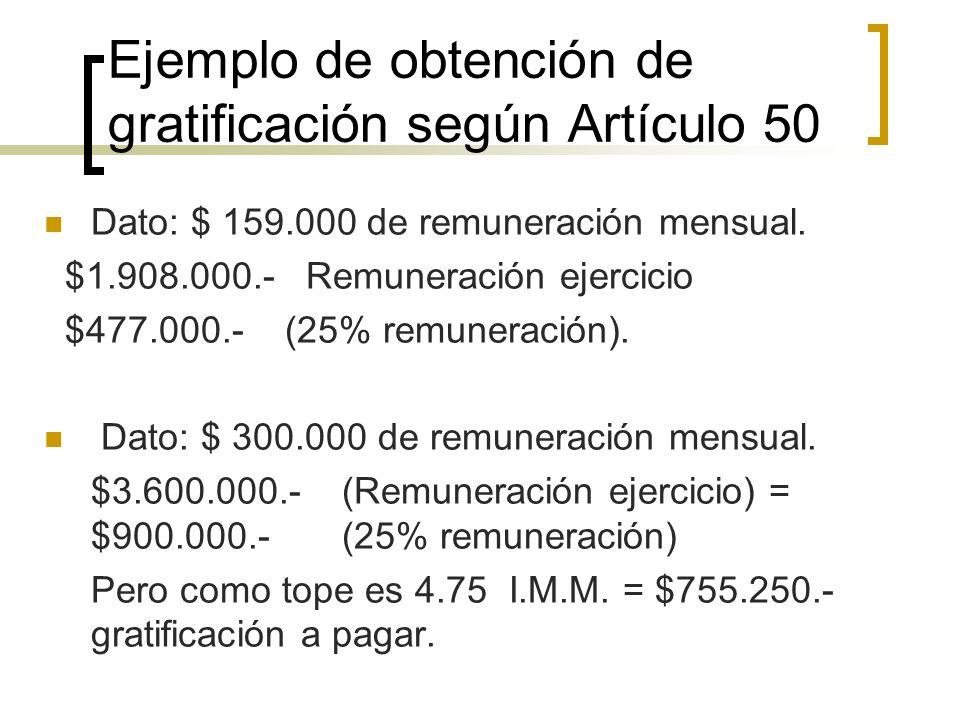 Ejemplo de obtención de gratificación según Artículo 50 Dato: $ 159.000 de remuneración mensual. $1.908.000.- Remuneración ejercicio $477.000.- (25% r