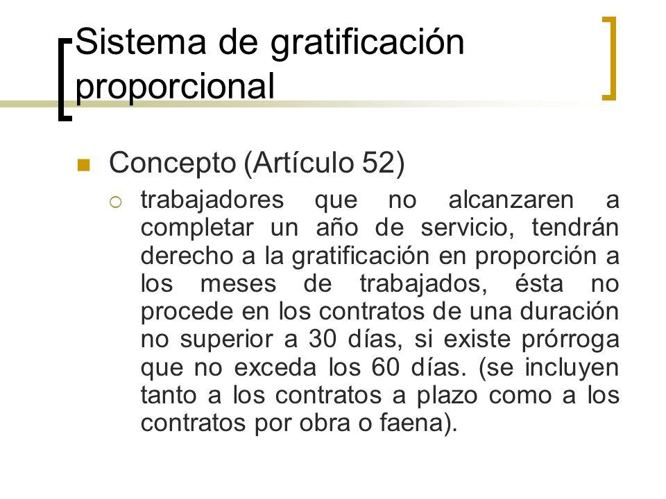 Sistema de gratificación proporcional Concepto (Artículo 52) trabajadores que no alcanzaren a completar un año de servicio, tendrán derecho a la grati
