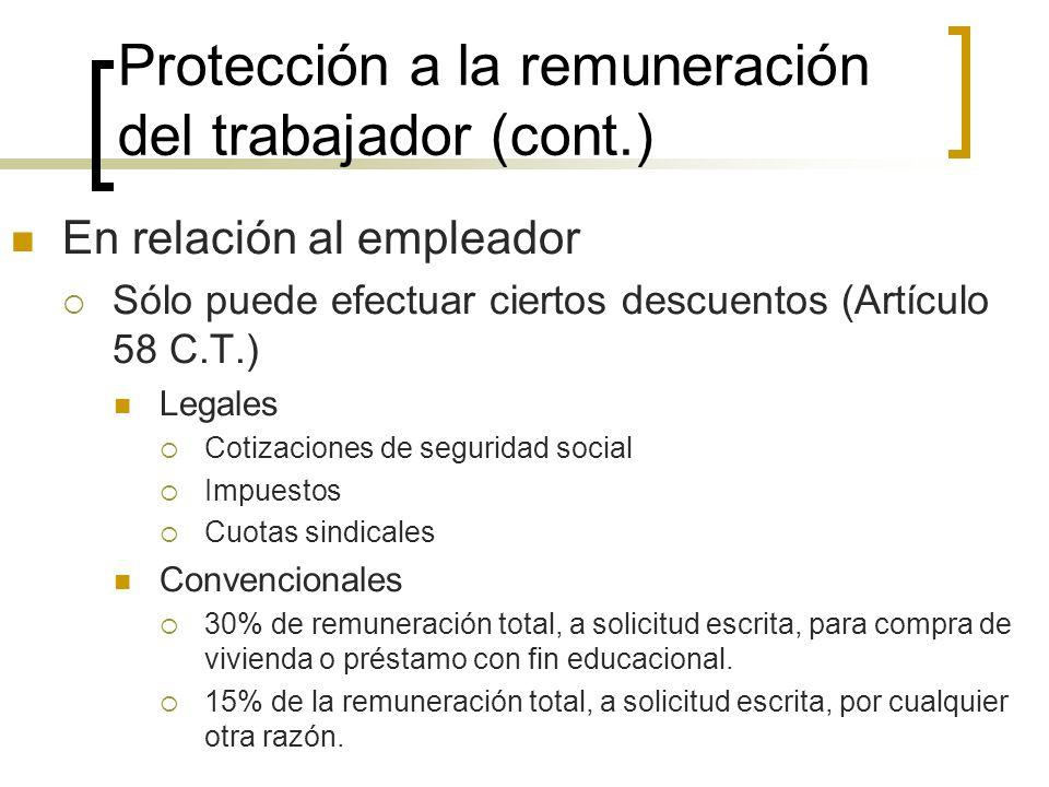 Protección a la remuneración del trabajador (cont.) En relación al empleador Sólo puede efectuar ciertos descuentos (Artículo 58 C.T.) Legales Cotizac