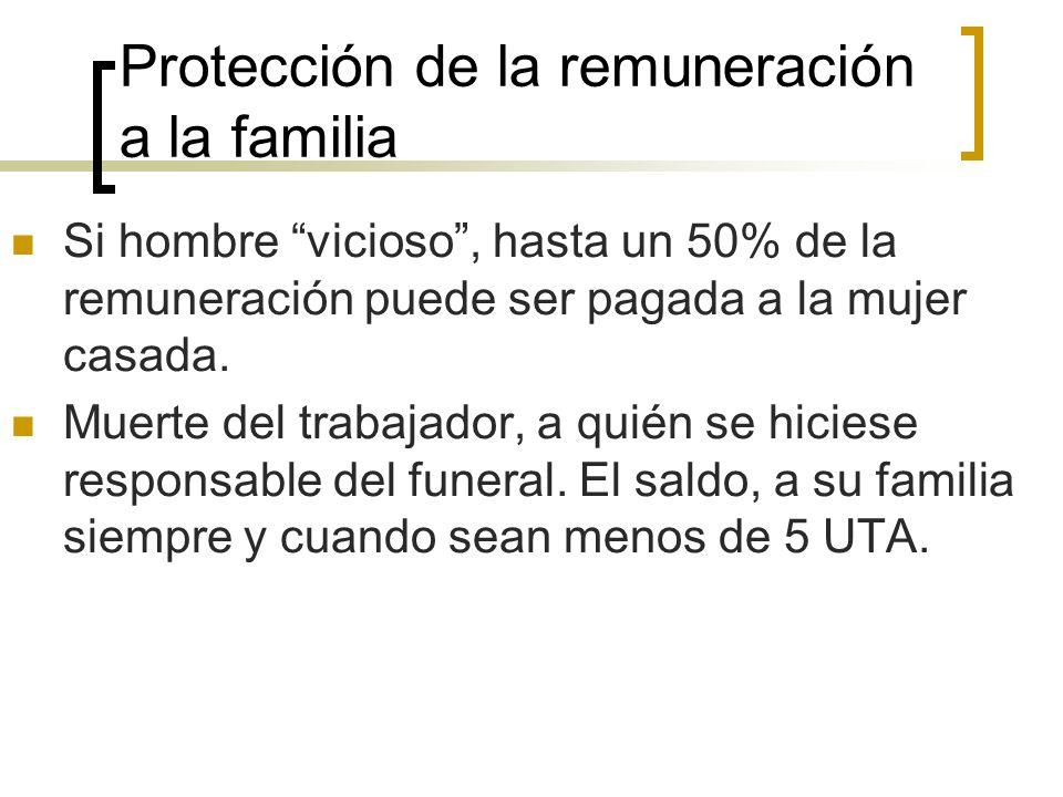 Protección de la remuneración a la familia Si hombre vicioso, hasta un 50% de la remuneración puede ser pagada a la mujer casada. Muerte del trabajado