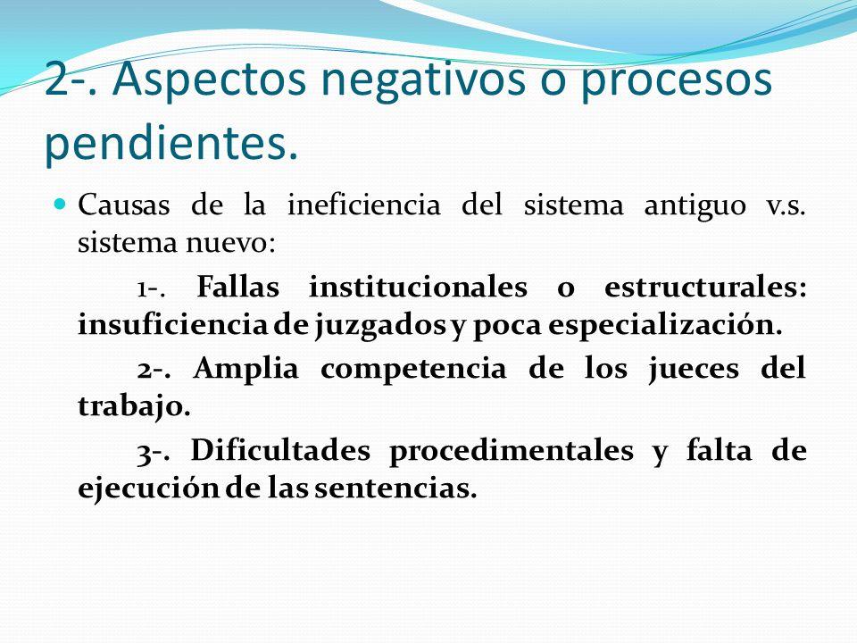 2-. Aspectos negativos o procesos pendientes. Causas de la ineficiencia del sistema antiguo v.s. sistema nuevo: 1-. Fallas institucionales o estructur