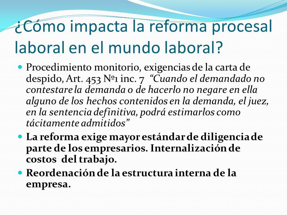¿Cómo impacta la reforma procesal laboral en el mundo laboral? Procedimiento monitorio, exigencias de la carta de despido, Art. 453 Nº1 inc. 7 Cuando