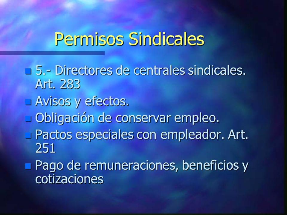 Permisos Sindicales n 5.- Directores de centrales sindicales. Art. 283 n Avisos y efectos. n Obligación de conservar empleo. n Pactos especiales con e