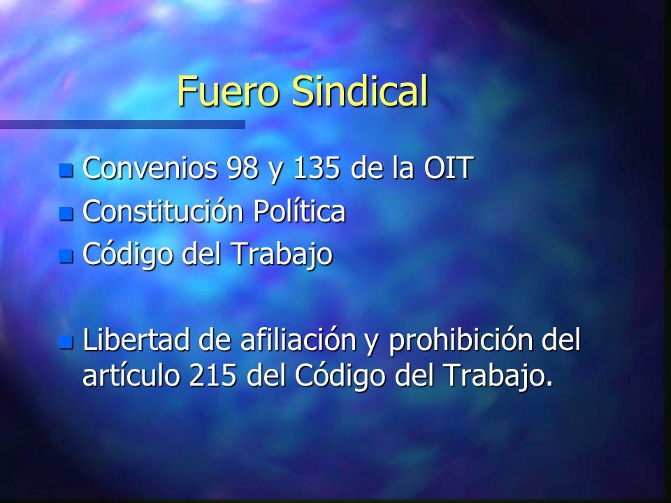 Fuero Sindical n Convenios 98 y 135 de la OIT n Constitución Política n Código del Trabajo n Libertad de afiliación y prohibición del artículo 215 del