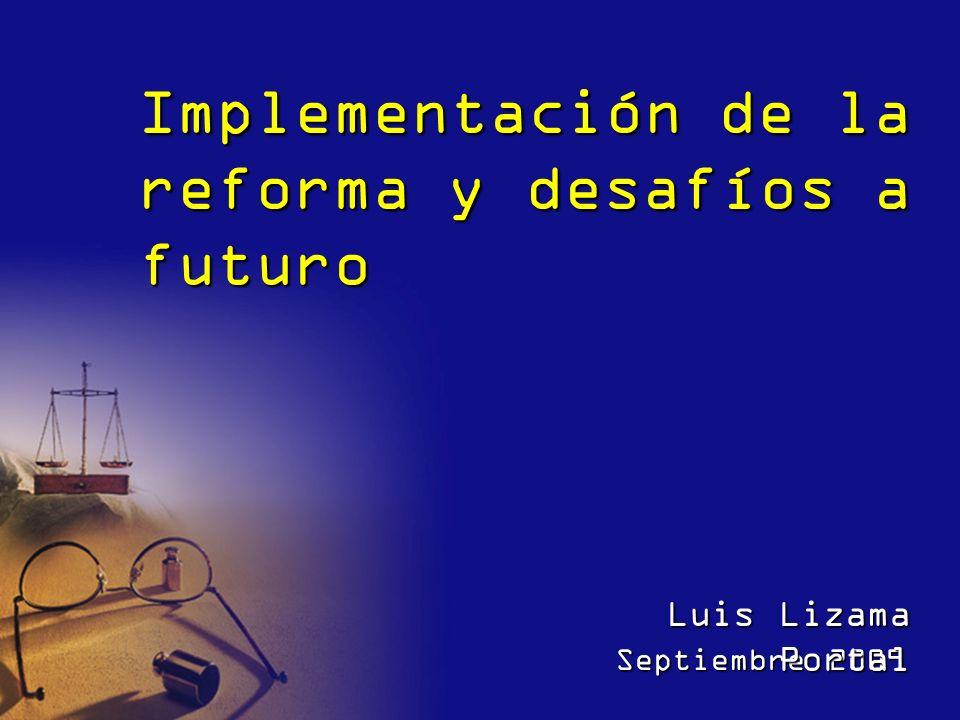 Implementación de la reforma y desafíos a futuro Septiembre 2009 Luis Lizama Portal