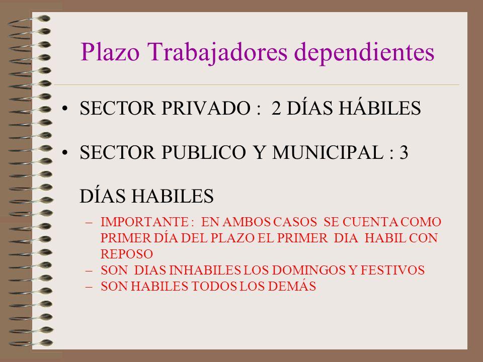 Plazo Trabajadores dependientes SECTOR PRIVADO : 2 DÍAS HÁBILES SECTOR PUBLICO Y MUNICIPAL : 3 DÍAS HABILES –IMPORTANTE : EN AMBOS CASOS SE CUENTA COMO PRIMER DÍA DEL PLAZO EL PRIMER DIA HABIL CON REPOSO –SON DIAS INHABILES LOS DOMINGOS Y FESTIVOS –SON HABILES TODOS LOS DEMÁS