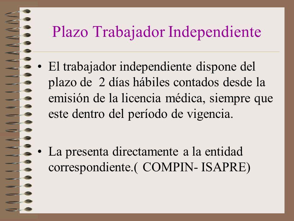 Plazo Trabajador Independiente El trabajador independiente dispone del plazo de 2 días hábiles contados desde la emisión de la licencia médica, siempre que este dentro del período de vigencia.