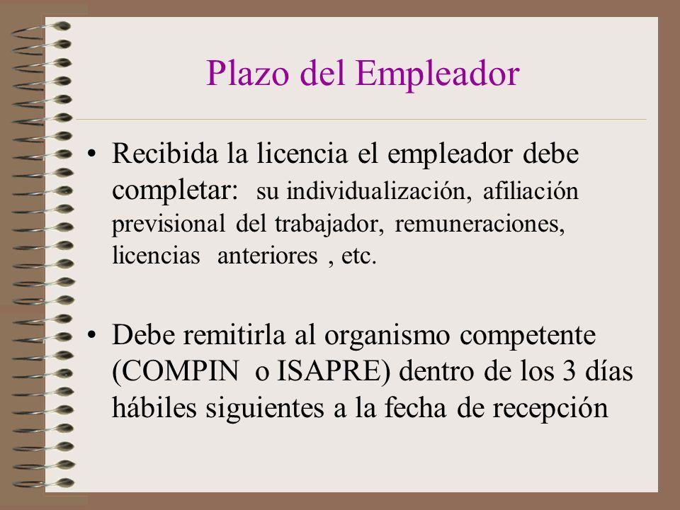 Plazo del Empleador Recibida la licencia el empleador debe completar: su individualización, afiliación previsional del trabajador, remuneraciones, licencias anteriores, etc.