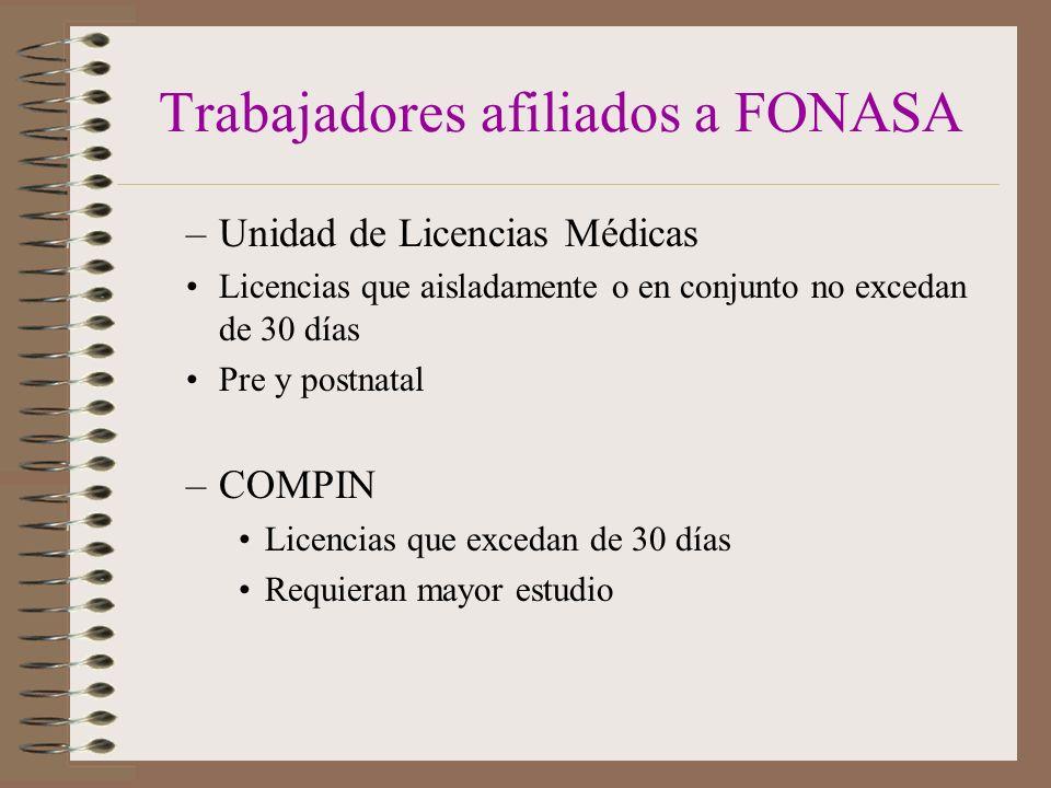 Trabajadores afiliados a FONASA –Unidad de Licencias Médicas Licencias que aisladamente o en conjunto no excedan de 30 días Pre y postnatal –COMPIN Licencias que excedan de 30 días Requieran mayor estudio