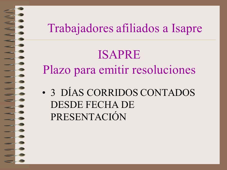 ISAPRE Plazo para emitir resoluciones 3 DÍAS CORRIDOS CONTADOS DESDE FECHA DE PRESENTACIÓN Trabajadores afiliados a Isapre