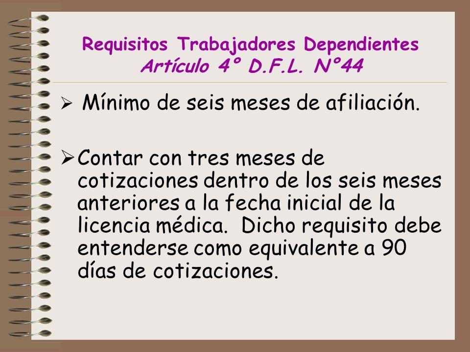Requisitos Trabajadores Dependientes Artículo 4° D.F.L.