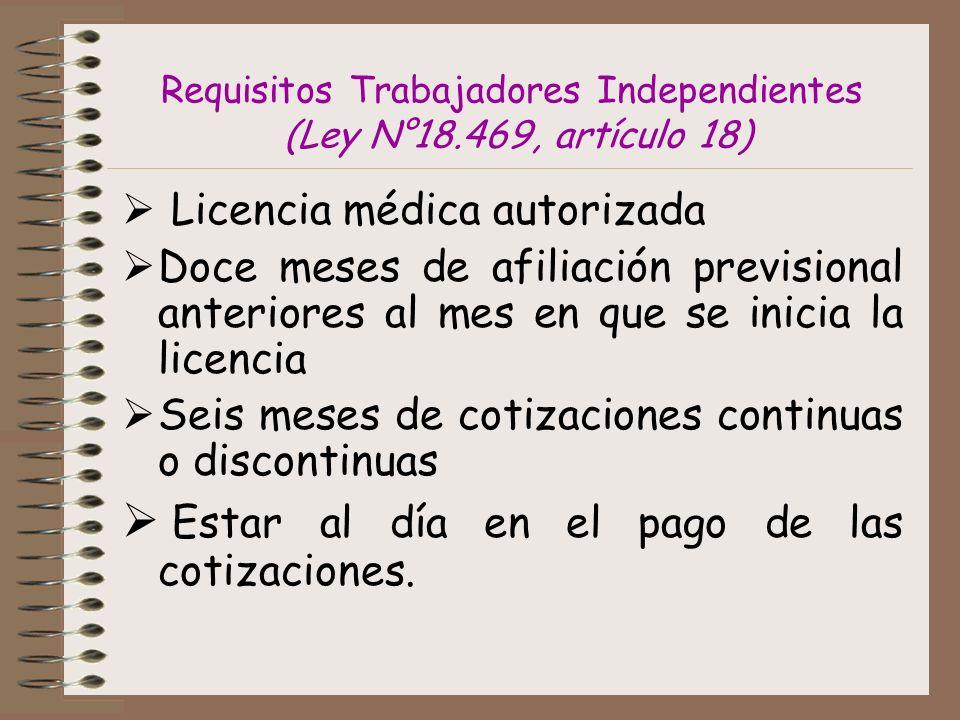 Requisitos Trabajadores Independientes (Ley N°18.469, artículo 18) Licencia médica autorizada Doce meses de afiliación previsional anteriores al mes en que se inicia la licencia Seis meses de cotizaciones continuas o discontinuas Estar al día en el pago de las cotizaciones.