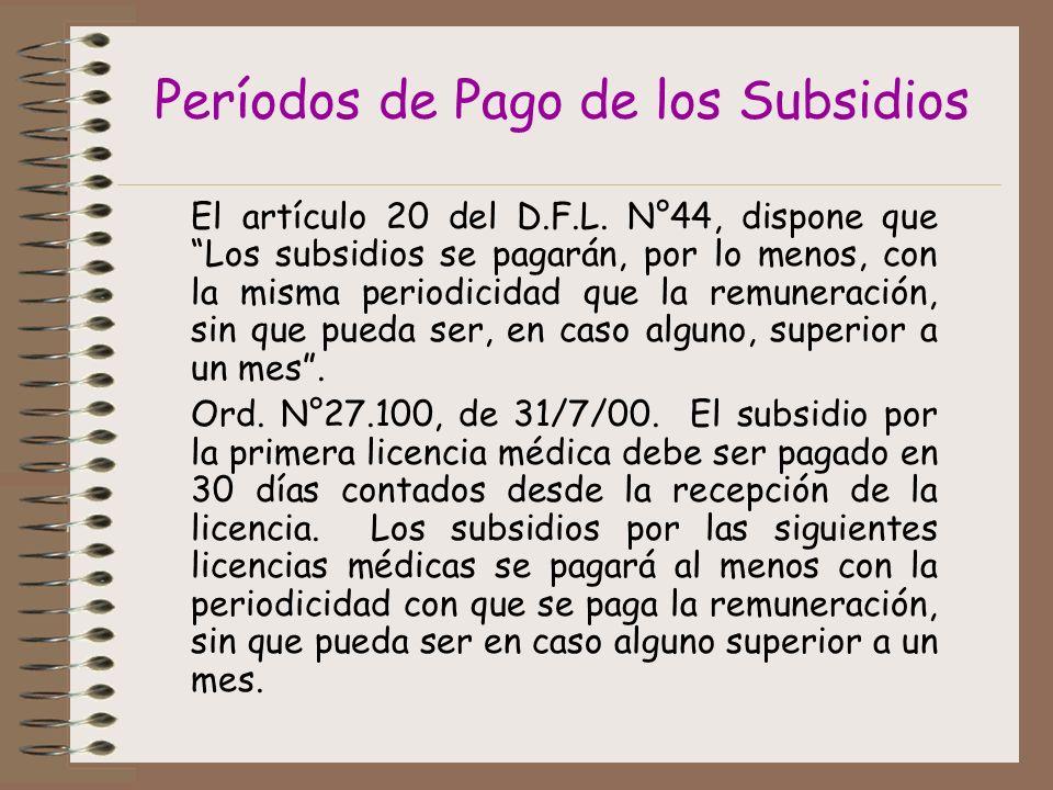Períodos de Pago de los Subsidios El artículo 20 del D.F.L.
