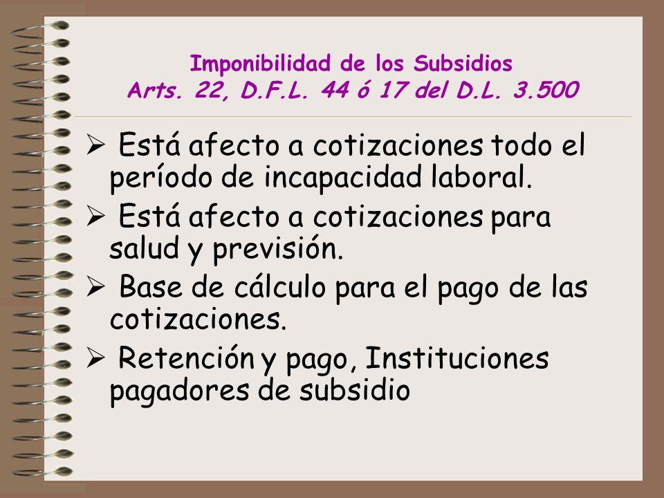 Imponibilidad de los Subsidios Arts.22, D.F.L. 44 ó 17 del D.L.