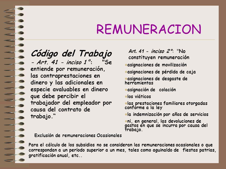REMUNERACION Código del Trabajo - Art.