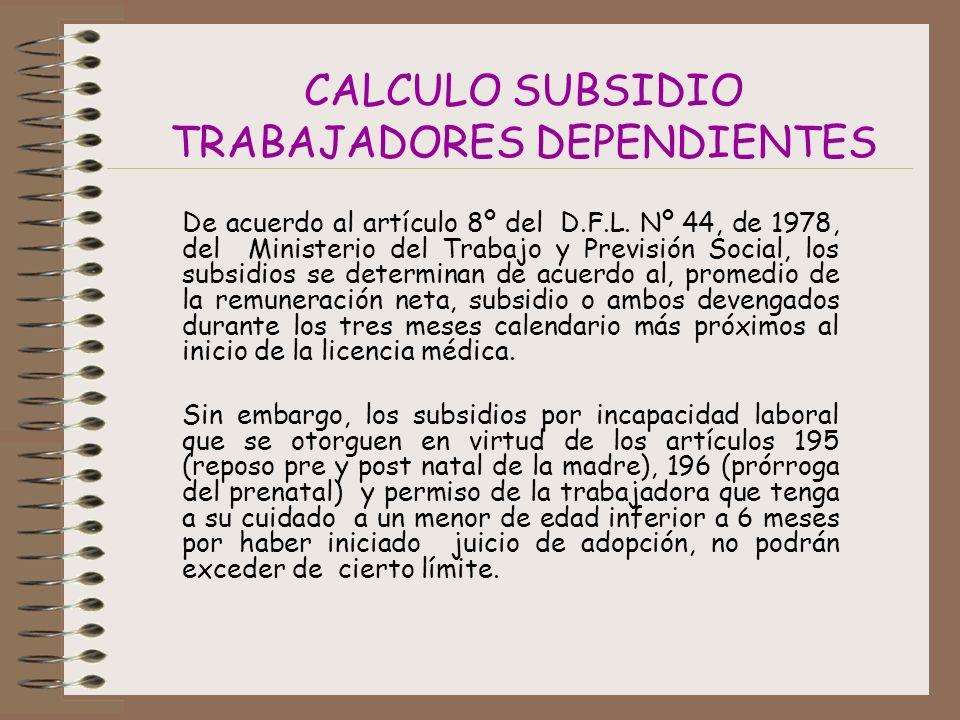 CALCULO SUBSIDIO TRABAJADORES DEPENDIENTES De acuerdo al artículo 8º del D.F.L.