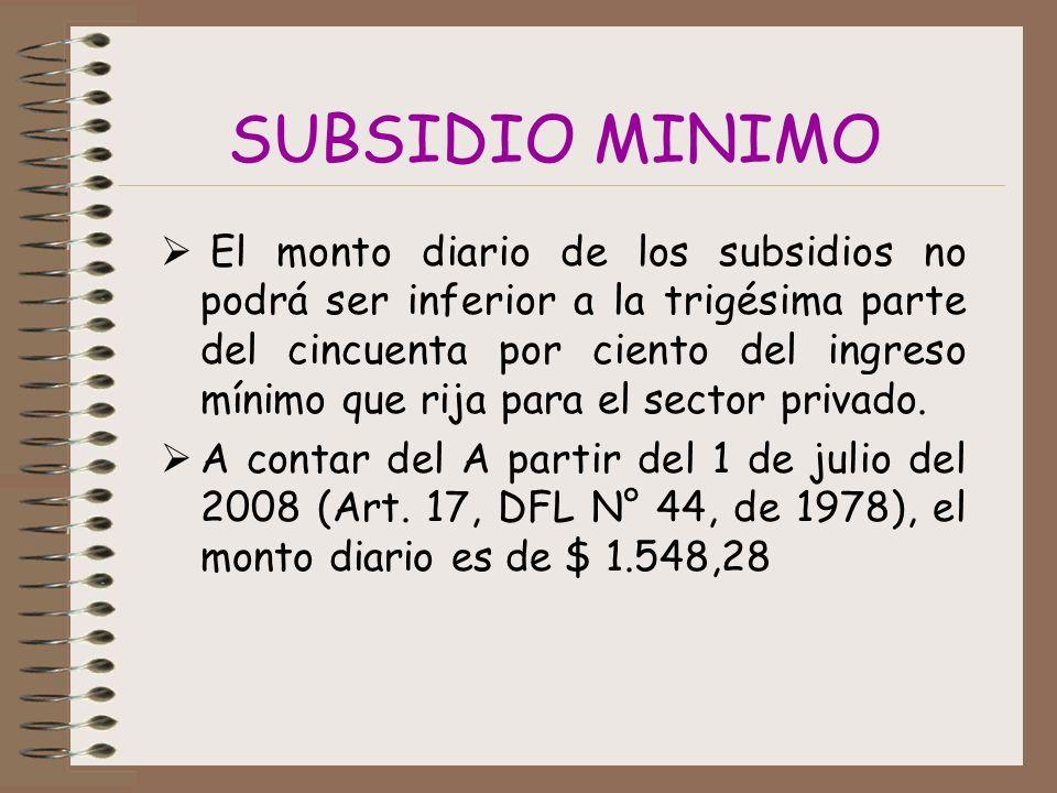 SUBSIDIO MINIMO El monto diario de los subsidios no podrá ser inferior a la trigésima parte del cincuenta por ciento del ingreso mínimo que rija para el sector privado.