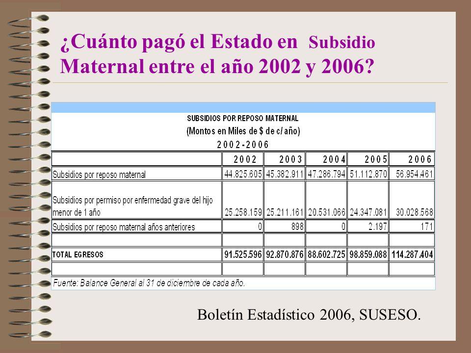 ¿Cuánto pagó el Estado en Subsidio Maternal entre el año 2002 y 2006.
