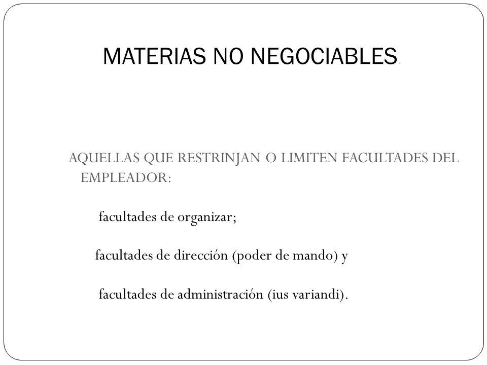 MATERIAS NO NEGOCIABLES.