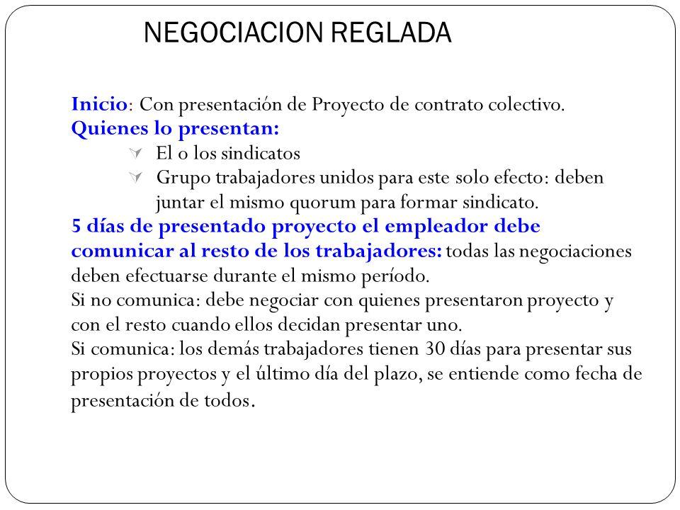 NEGOCIACION REGLADA Inicio: Con presentación de Proyecto de contrato colectivo.