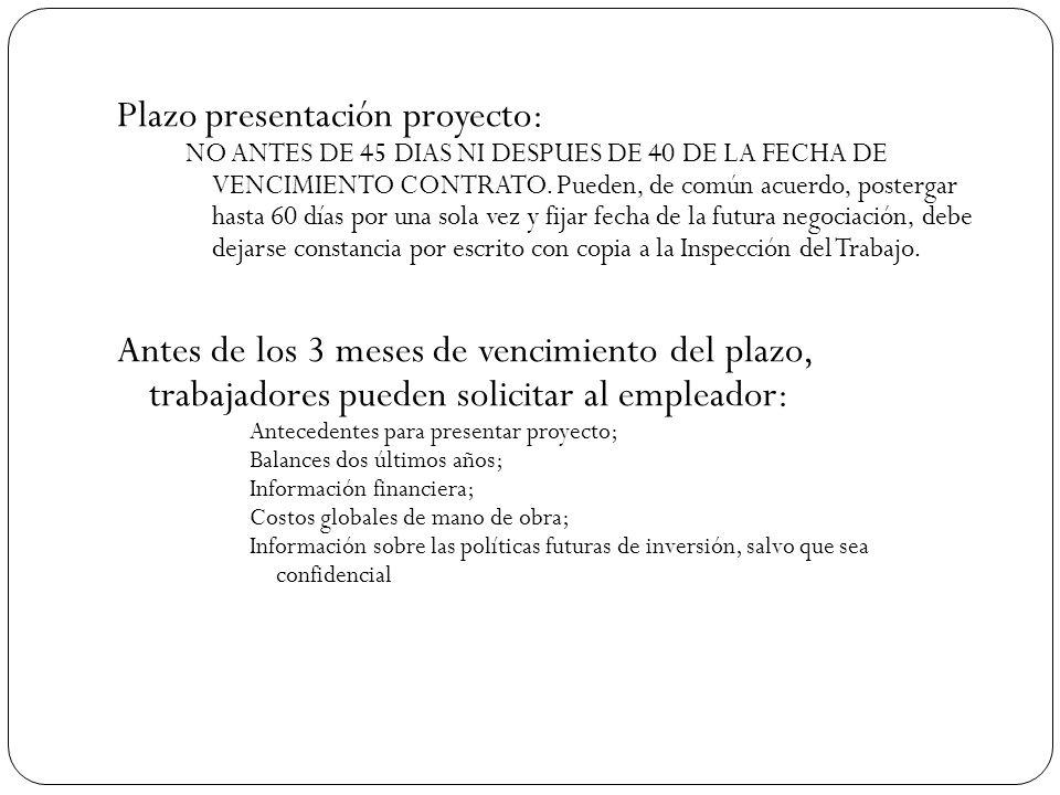 Plazo presentación proyecto: NO ANTES DE 45 DIAS NI DESPUES DE 40 DE LA FECHA DE VENCIMIENTO CONTRATO.