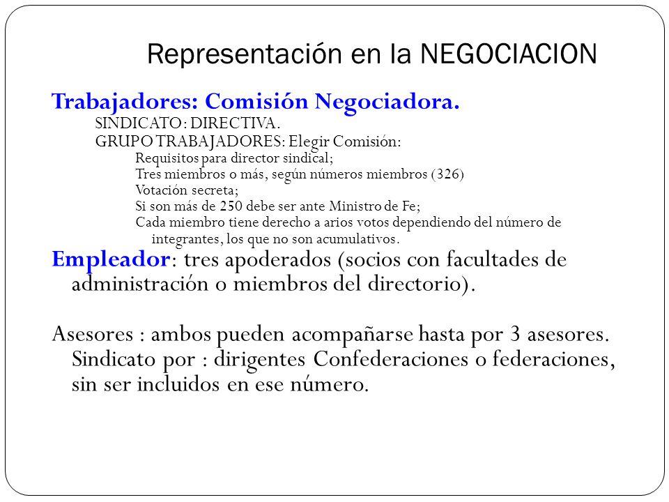 Representación en la NEGOCIACION Trabajadores: Comisión Negociadora.