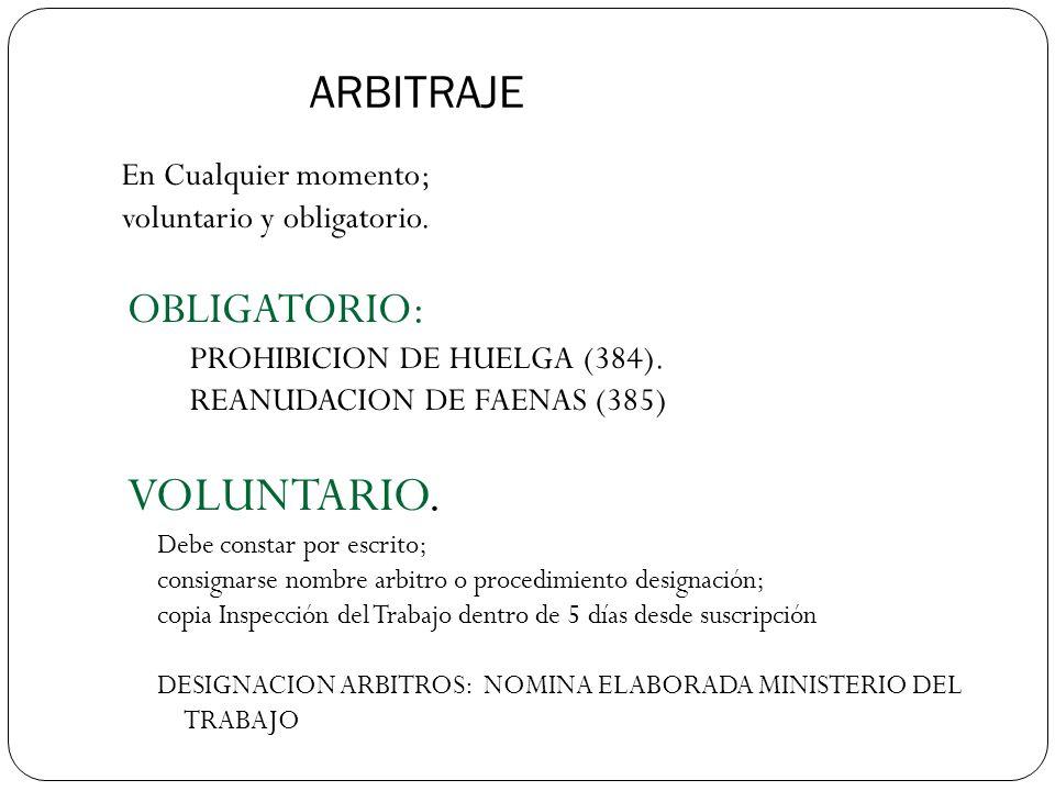 ARBITRAJE En Cualquier momento; voluntario y obligatorio.