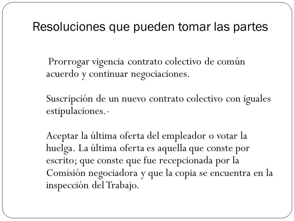 Resoluciones que pueden tomar las partes Prorrogar vigencia contrato colectivo de común acuerdo y continuar negociaciones.