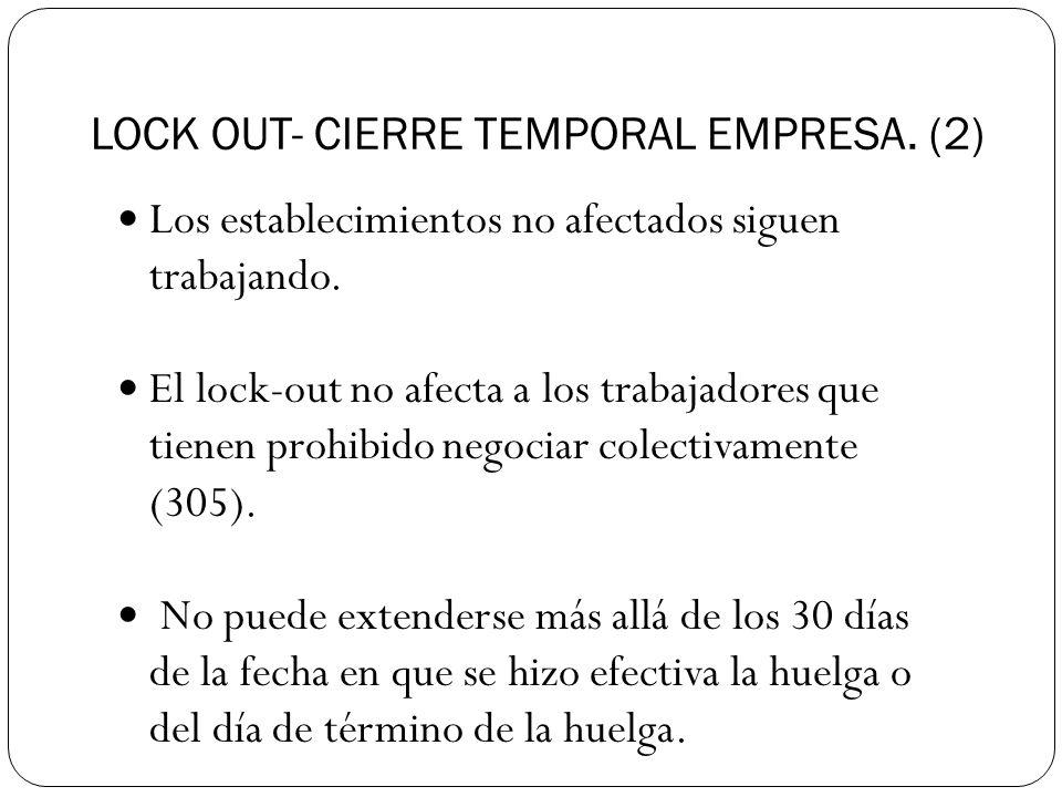 LOCK OUT- CIERRE TEMPORAL EMPRESA.(2) Los establecimientos no afectados siguen trabajando.