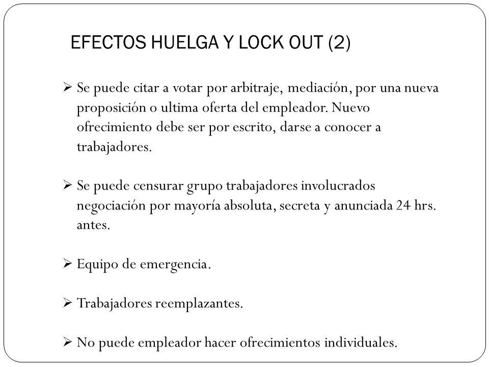 EFECTOS HUELGA Y LOCK OUT (2) Se puede citar a votar por arbitraje, mediación, por una nueva proposición o ultima oferta del empleador.