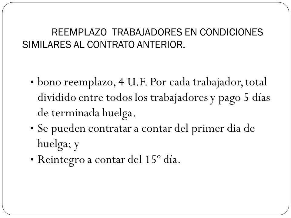 REEMPLAZO TRABAJADORES EN CONDICIONES SIMILARES AL CONTRATO ANTERIOR.