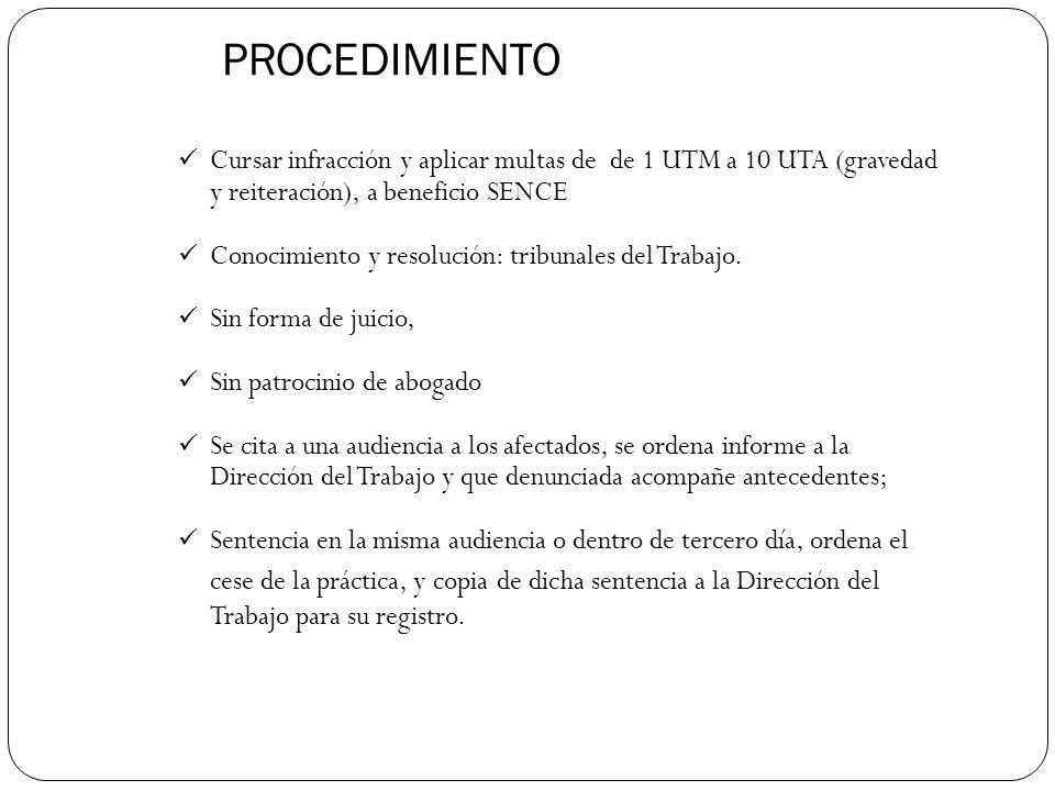 PROCEDIMIENTO Cursar infracción y aplicar multas de de 1 UTM a 10 UTA (gravedad y reiteración), a beneficio SENCE Conocimiento y resolución: tribunales del Trabajo.
