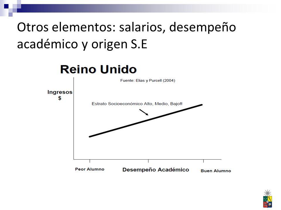 Otros elementos: salarios, desempeño académico y origen S.E