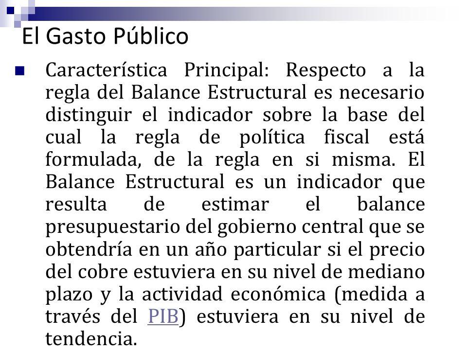 El Gasto Público Característica Principal: Respecto a la regla del Balance Estructural es necesario distinguir el indicador sobre la base del cual la